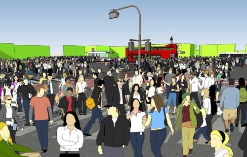 別の角度から見た交差点の映像イメージ