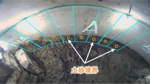 超広角カメラで撮影した画像を短冊状に切り分け、AIで土砂境界を推定している