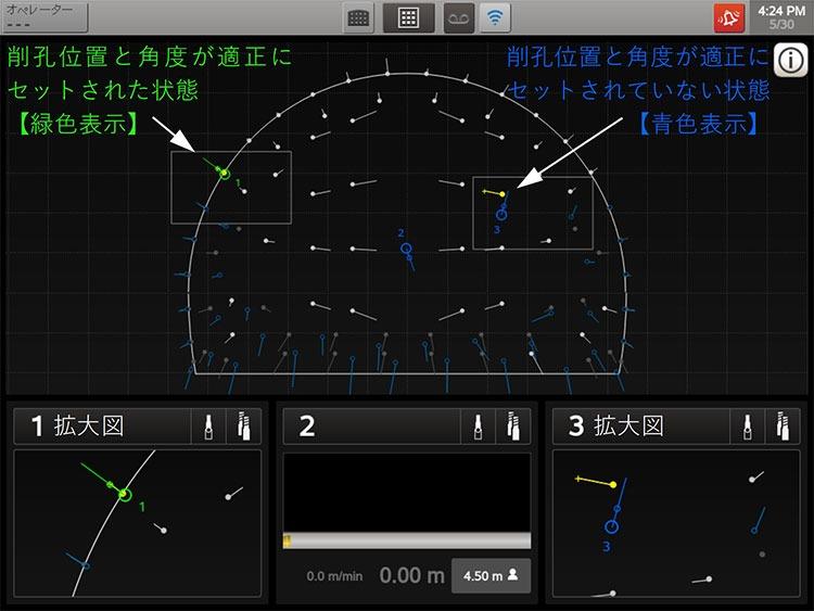 画面の拡大図。掘削位置や角度が設定データと離れている場合は青色で表示され、精度よくセットされた場合は緑色で表示される