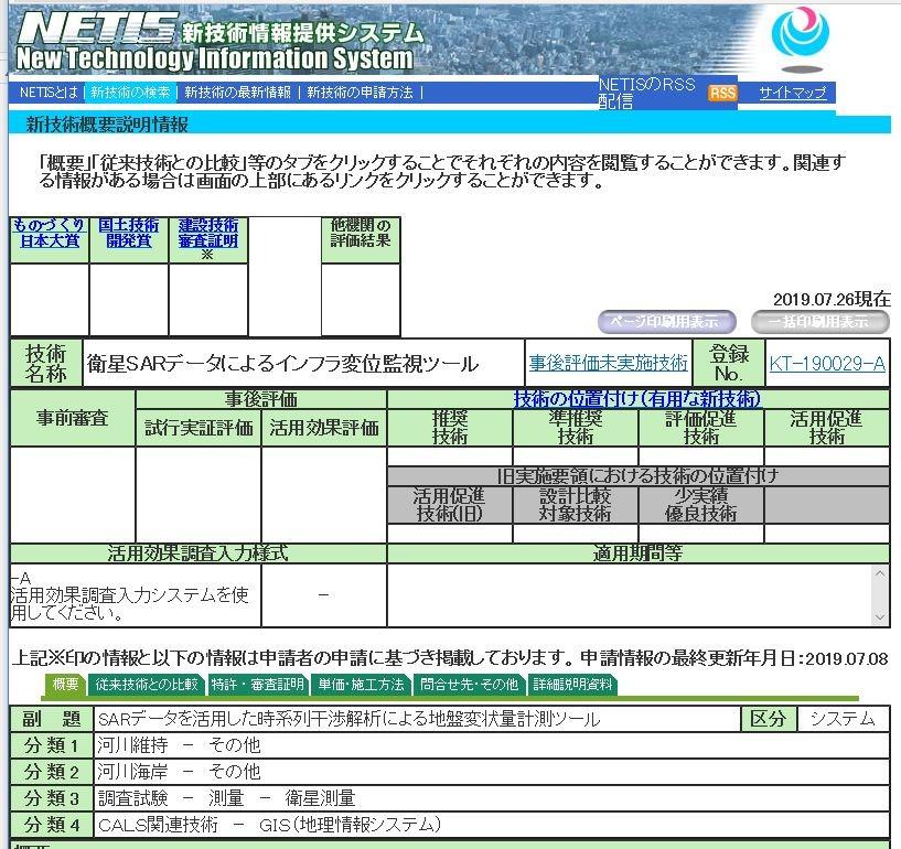 国土交通省 新技術情報提供システム(NETIS)に登録された「衛星SARデータによるインフラ変位監視ツール」(資料:NETISより)