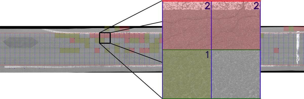 50cm角のメッシュごとに、AIがひび割れの本数を自動カウントして分類する(資料:リコー)
