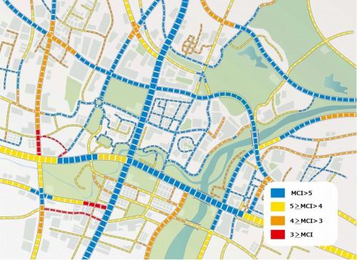 地図上にマッピングされたMCI値。舗装の劣化状態が一目でわかる(資料:リコー)