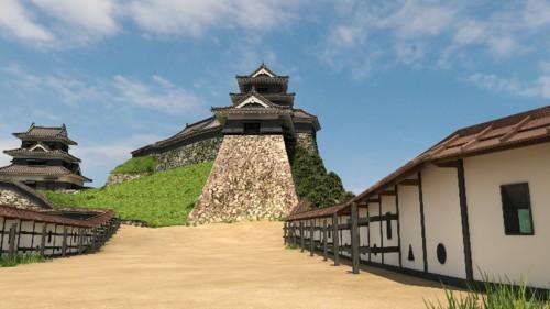 VRで再現した津和野城の三の丸から見た人質櫓(やぐら)