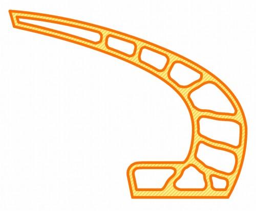 部材の断面図。オレンジ色の実線が3Dプリンターで造る内枠と外枠。斜線部がスリムクリートで充てんされたところ(資料:大林組)