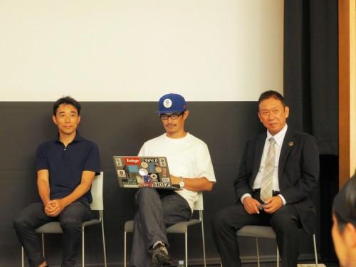 トークセッションに登壇したスピーカー。左からgluonの金田充弘 東京芸大准教授、同・豊田啓介氏、KUMONOSの中庭和秀代表取締役(写真:家入龍太)