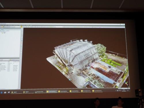 完成した旧都城市民会館の3D点群データ