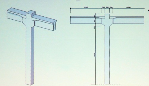 柱と梁の断面を変えたり、テーパーでつないだりして作ったBIMモデル