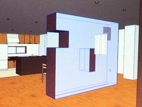 意匠デザインとして切り欠きや穴を開けた壁のBIMモデル