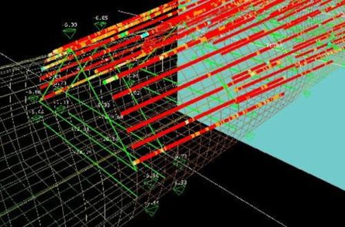 切り羽前方の探査データと予測変位(緑色の線や数値)(以下の資料:西松建設)