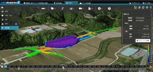 実測データと設計データを比較して差分土量を算出した例