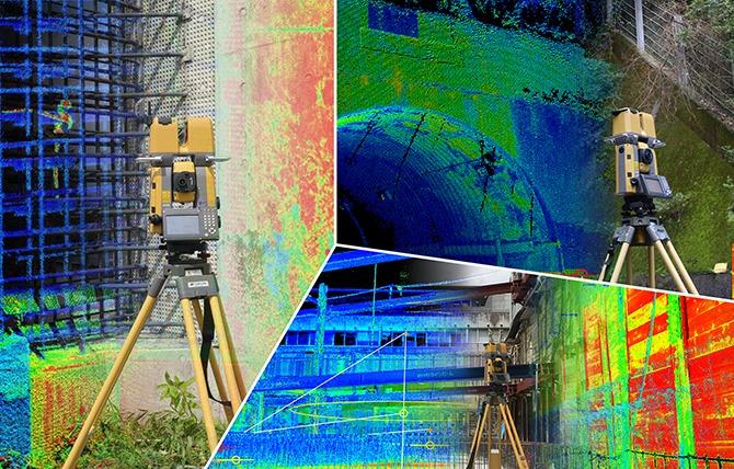 建物や構造物の点群計測を行いながら基準点の座標を同時に計測するイメージ