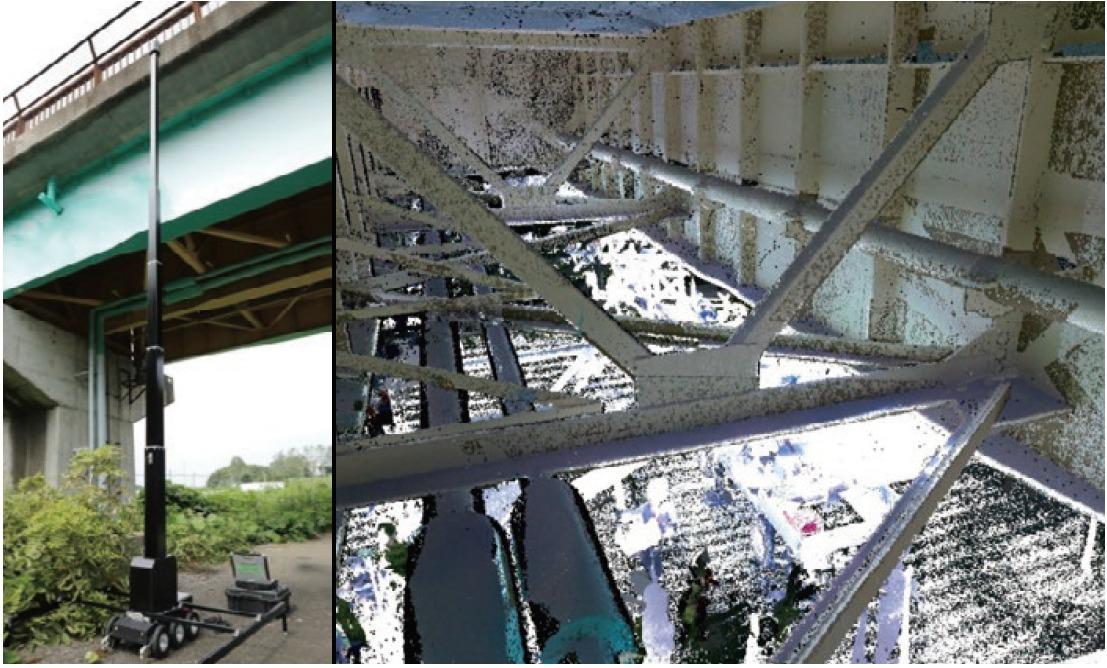 「VAN-BO」によって計測した橋桁裏のトラス構造の点群データ。これまではこうした点群化は難しかった