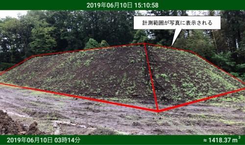 写真と合成した土量計算結果