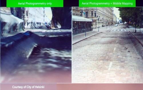 航空写真だけだと道路やビルのファサードが波打ってしまう(左)が、地上で計測した点群データと一緒に処理することで非常に高精度の3Dモデルができる(右)(資料:Courtesy of Bentley Systems)