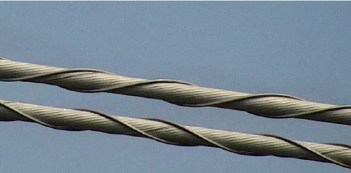 ドローンが撮影した送電線。細かいより線の1本1本まで、鮮明に写っている