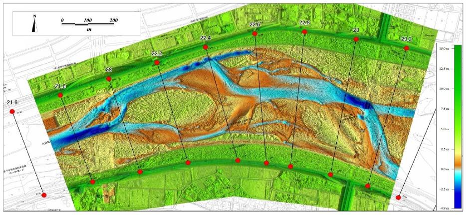 地物を除いた水面からの比高図。グリーンレーザーのおかげで超精密な河川形状を3Dで得ることができるようになった