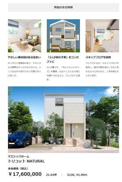 ある住宅のページ。CGや図面などグラフィカルな資料が豊富にあり、視覚的にイメージが理解できる
