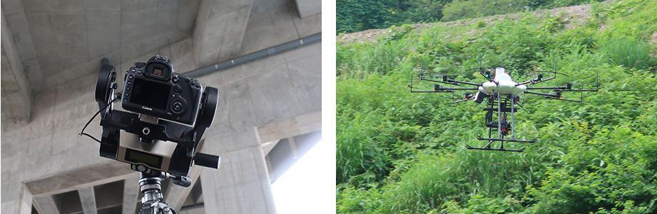 キヤノンのカメラやドローンによる現場の撮影イメージ(特記以外の資料:キヤノン)