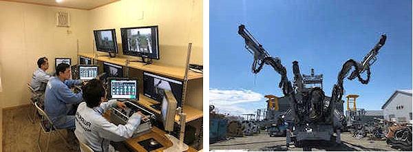 中央制御室の内部(左)と遠隔操作できる無人ドリルジャンボ(右)(以下の写真、資料:安藤ハザマ)