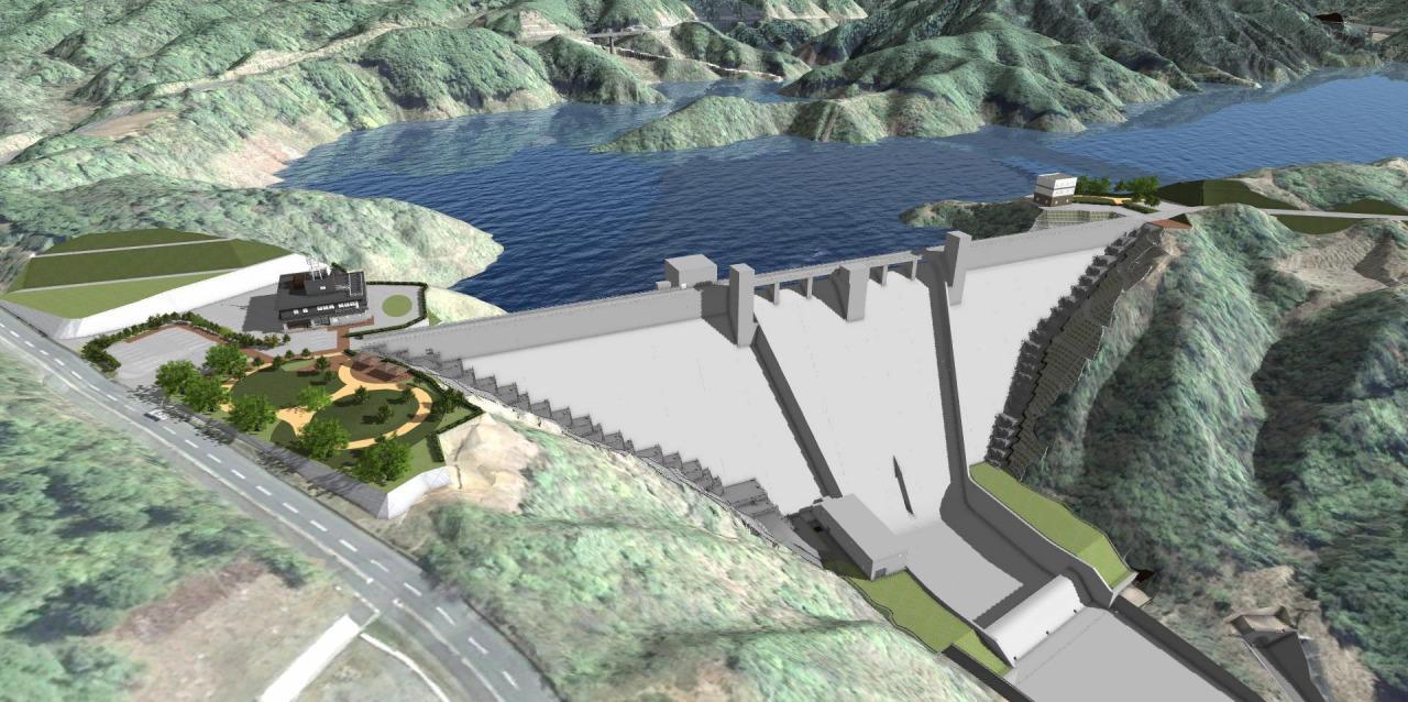 川上ダムの完成予想図。堤高84m、堤頂長334mの重力式コンクリートダム(資料:水資源機構川上ダム建設所)