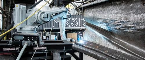 金属材料を使って鋼橋を製作する3Dプリンター(以下の写真、資料:MX3D)
