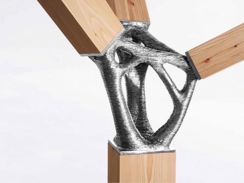 3Dプリンターで製作した金属製継ぎ手の使用イメージ