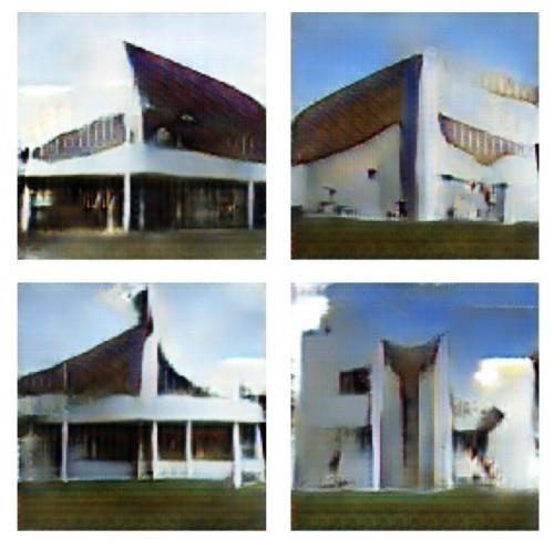 コルビジェネレーターによって、「サボォア邸」と「ロンシャンの礼拝堂」のテイストをミックスして自動作成した建物デザインの例(以下の資料:立命館大学理工学部建築都市デザイン学科の建築情報研究室)