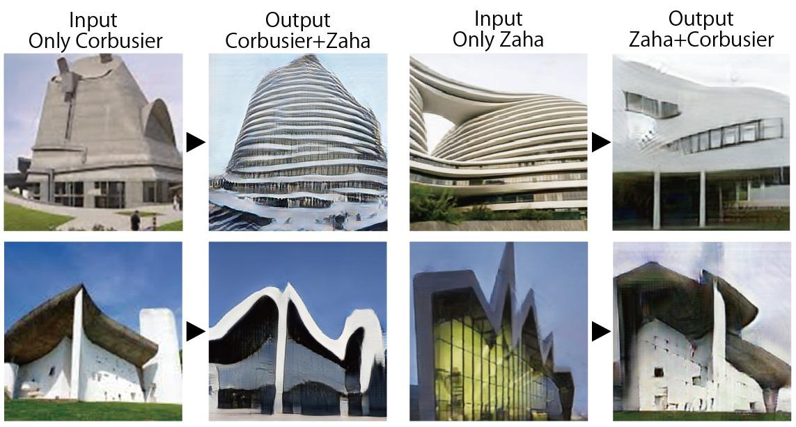 コルビジェとザハのテイストを合わせ持ったデザイン。左側がコルビュジエの作品をザハ風にアレンジした例、右側がザハのデザインをコルビュジエがアレンジした例