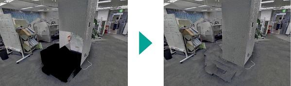 設備の撤去シミュレーションで開いた床も埋めてくれる