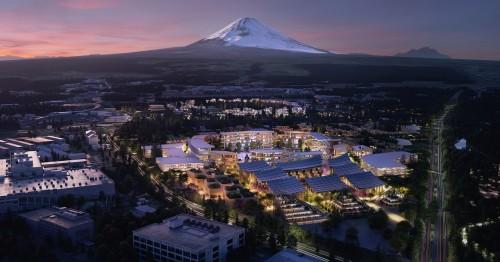 富士山の麓に建設される「コネクティッド・シティ」の完成予想図(以下の資料:トヨタ自動車)