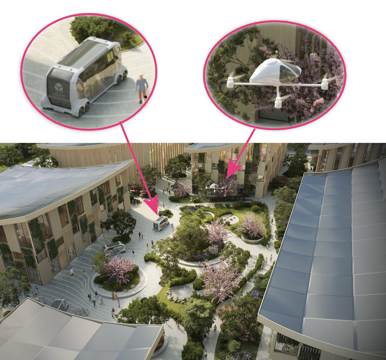 中庭を見下ろしたイメージ図。建物は木材を多用しており、屋根には太陽光パネルが。そしてドローンを拡大してみるとコックピットのようなものが付いている