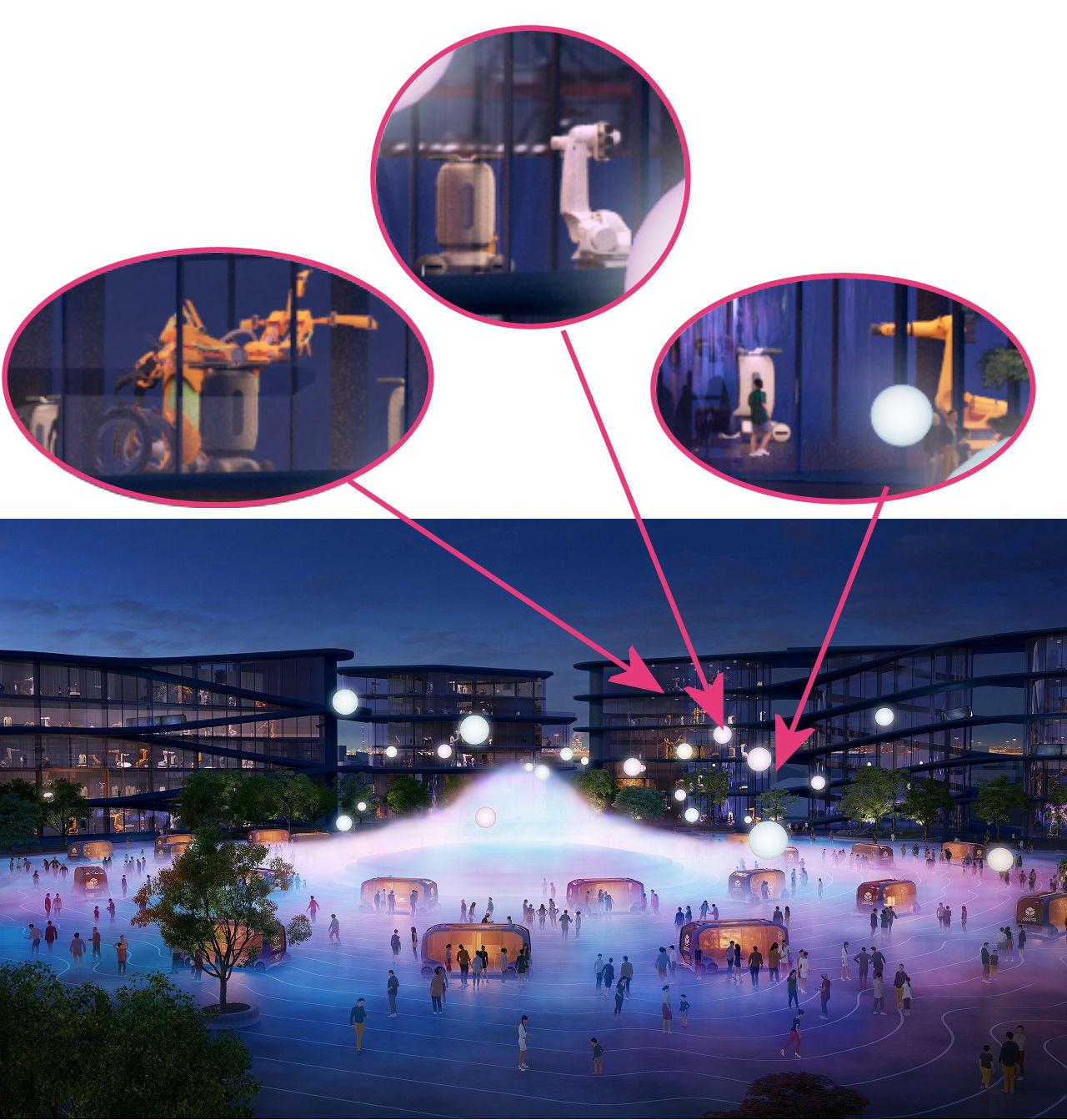 夜景のシーンでは、建物の中で多数のロボットが働いているのがわかる