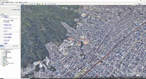Google Earthで点群とほぼ同じと思われる範囲を表示したところ(画面:Google Earthより)
