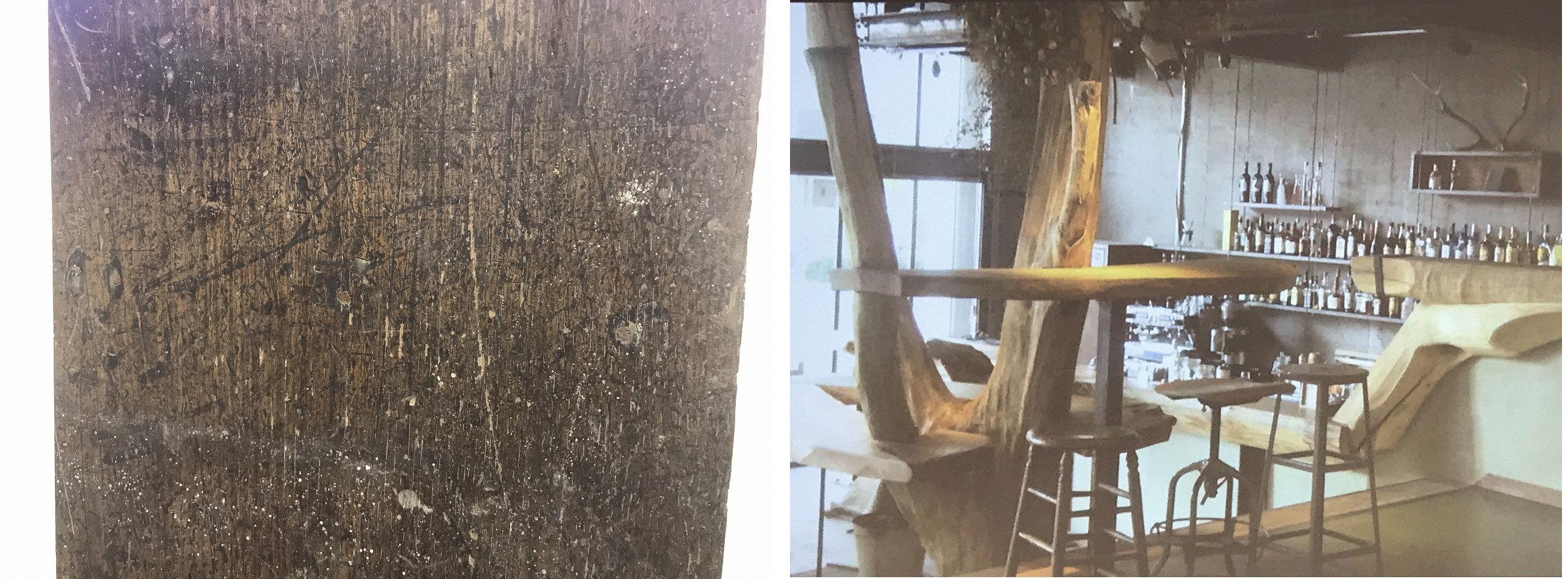古い建物に使われていた木材(左)。古材をデザインに取り入れた東京・台東区のゲストハウス「Nui.HOSTEL & BAR LOUNGE」(左写真:家入龍太、右写真:東野唯史氏)