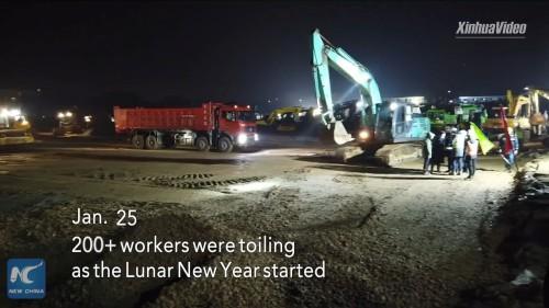 1月25日。旧正月のはじまりとともに、200人以上の作業員が働く