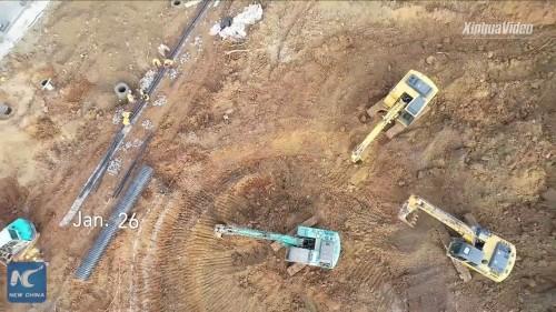 1月26日。かなり造成が進み、資材も搬入されてきた