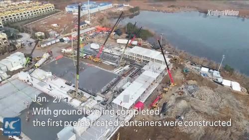 1月27日。造成工事は完了。プレハブ建物の組み立てが始まる