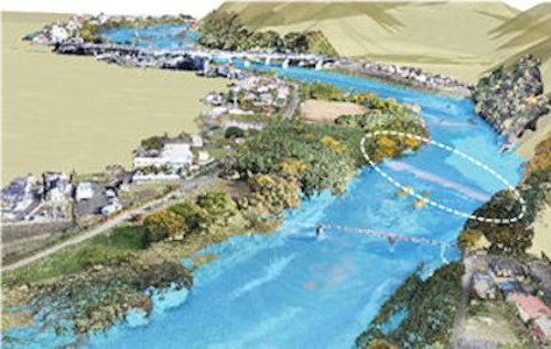 河川の堰(せき)のイメージ。この上を流れる水の動きを正確に知ろうとすると、これまでは実験するしかなかった(以下の資料:八千代エンジニヤリング)