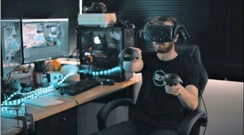 VR上で墨出し位置を指示するイメージ