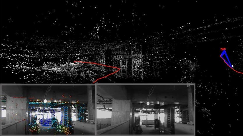 現場の様子(右下)。デプスカメラで建物内をスキャンしたイメージ(左下)。そのデータをもとに生成し点群データ(中央上)には、柱などの構造が再現されているのがわかる。赤線はロボットが通った軌跡
