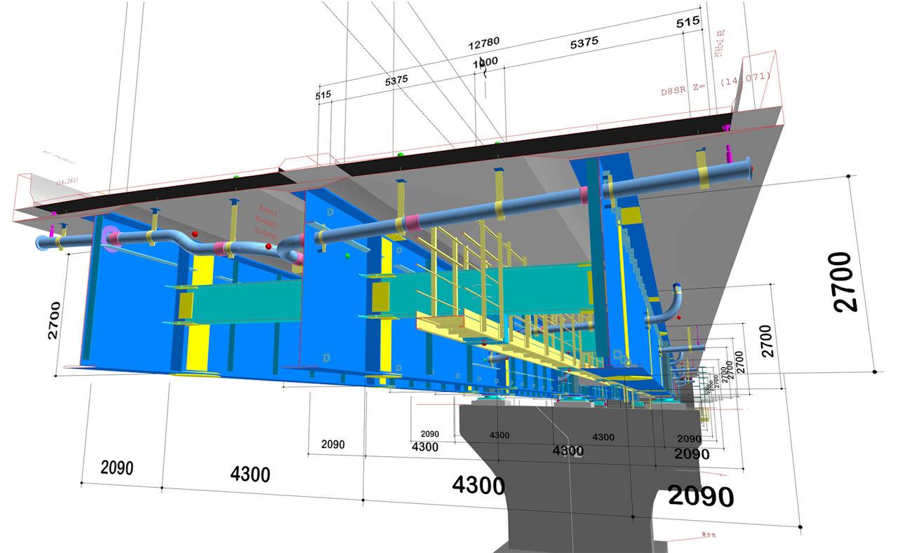 高い詳細度で作成された橋梁CIMモデルの例(以下の資料:オフィスケイワン)