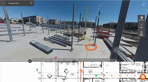 360度カメラで撮影した写真には、図面と対応した位置情報が自動的に付けられる