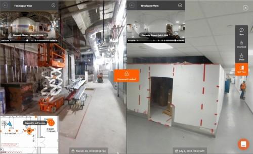 同じ場所を過去(左)と現在(右)で比較した例。天井裏のダクトなどの位置もよくわかる