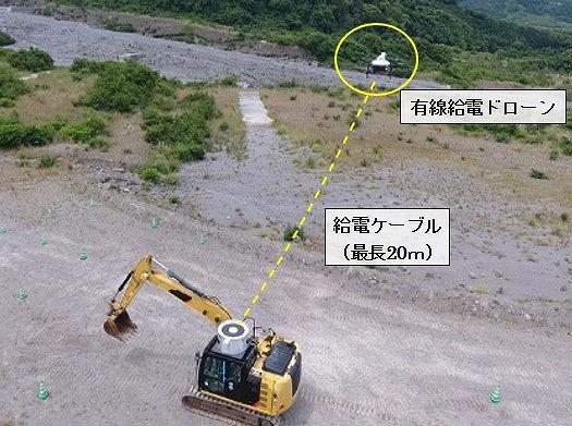 有線給電ドローンを装備した無人化施工用のバックホー(以下の写真、資料:フジタ)