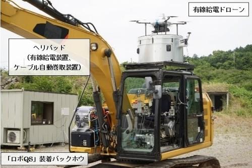 重機に設置された小型ヘリパッド