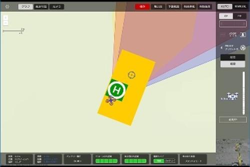 タッチパネルによるドローンの操作画面