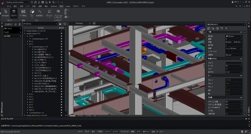 構造と設備のBIMモデルを拡大表示したところ