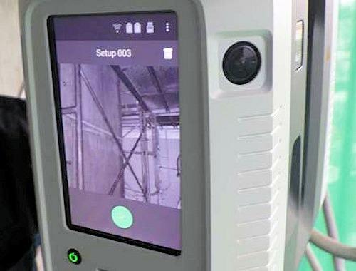 3Dレーザースキャナーのモニター画面