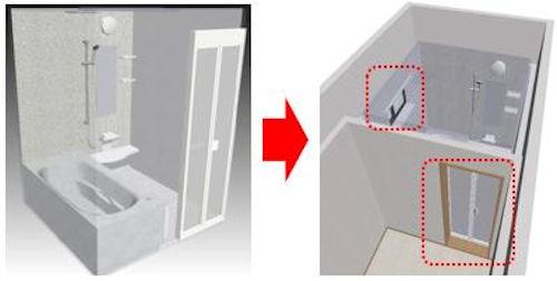 ユニットバスのBIMパーツをダウンロードし、BIMモデル上に配置すると扉と窓が自動的に開口処理されるイメージ