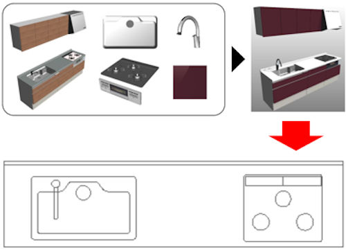 様々なパーツからなるシステムキッチンの2次元図面を正確に合成するイメージ